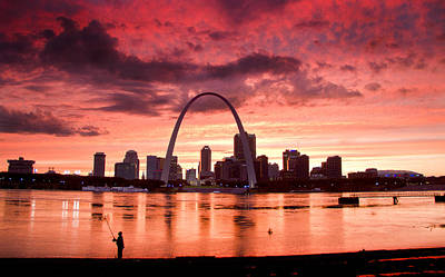 Fishing The Mississippi In St Louis Art Print by Garry McMichael