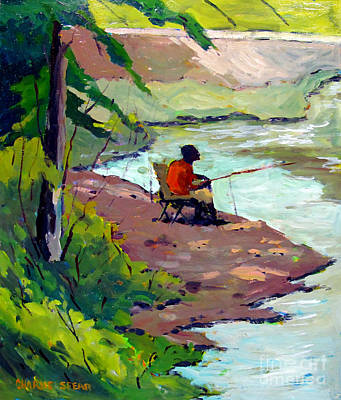 Catfish Painting - Fishing The Spillway by Charlie Spear