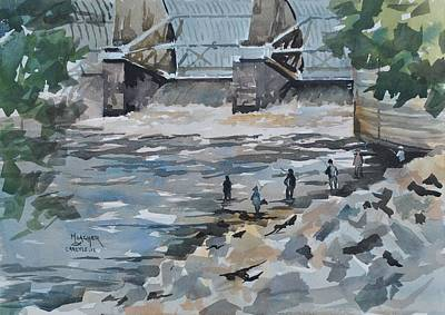 Fishing The Spillway Original by Spencer Meagher
