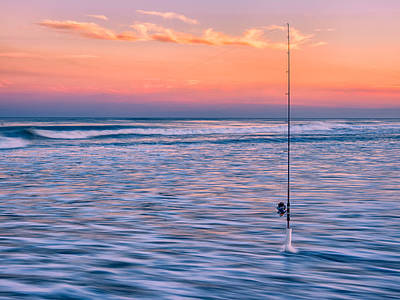 Photograph - Fishing The Sunset Surf - Horizontal Version by Mark Robert Rogers
