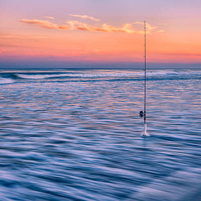 Photograph - Fishing The Sunset Surf - Square Version by Mark Robert Rogers