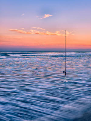 Photograph - Fishing The Sunset Surf - Vertical Version by Mark Robert Rogers