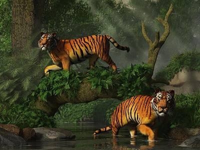 Animals Digital Art - Fishing Tigers by Daniel Eskridge