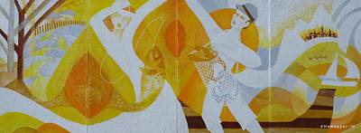 Painting - Fishing Trip-a Four Panel Painting by Hemu Aggarwal