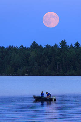 Photograph - Fishing Under The Super Moon by Barbara West