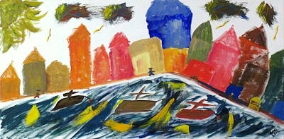Fishing Village Painting - Fishing Village For Kids by Greg Mason Burns