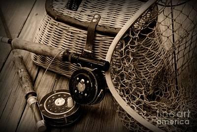 Fishing - Vintage Fishing  Black And White Art Print