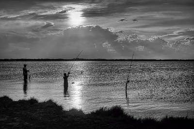 Titusville Photograph - Fishing With Dad - Black And White - Merritt Island by Nikolyn McDonald