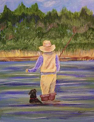 Painting - Fishing With Dog by Belinda Lawson