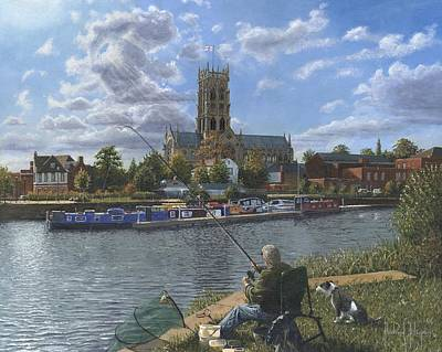 Yorkshire Painting - Fishing With Oscar - Doncaster Minster by Richard Harpum