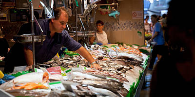 Fishmonger At A Fish Stall, La Boqueria Print by Panoramic Images