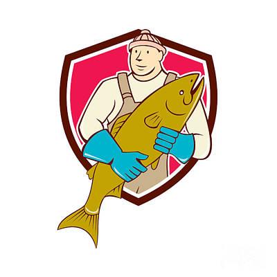 Tradesman Digital Art - Fishmonger Holding Salmon Fish Shield Cartoon by Aloysius Patrimonio