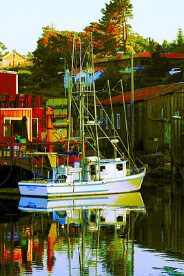 Digital Art - Fish'n Boat At Harbor by Joseph Coulombe