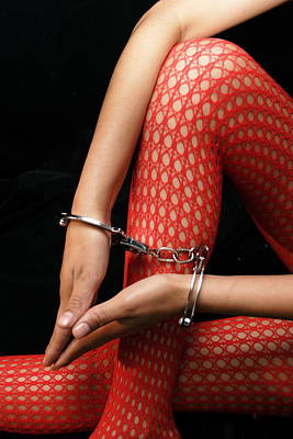 Fetish Photograph - Fishnet Stockings And Cuffs by Fenton Ayres
