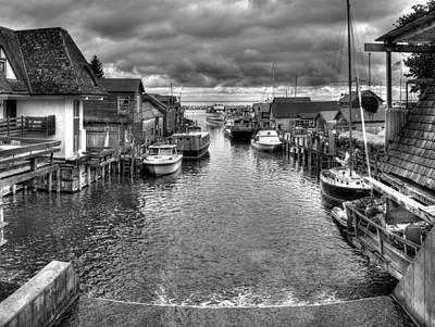 Fishtown In Lelans Black And White Art Print by Twenty Two North Photography