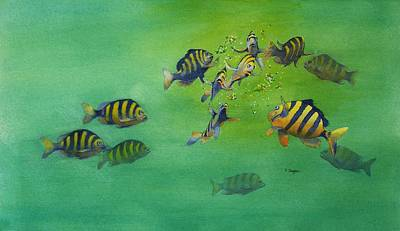 Painting - Fishy Business by Norman Freyer
