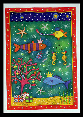 Fishy Christmas, 1997 Wc And Pastel On Paper Art Print