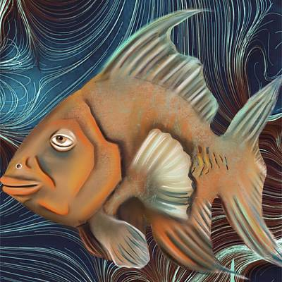 Goldfish Digital Art - Fish Art by Helen Bowman