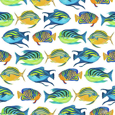 Fishy Digital Art - Fishy Pattern by Julie Derice