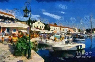 Painting - Fiskardo Town In Kefallonia Island by George Atsametakis