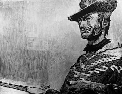 Poncho Drawing - Fistfull Of Dollars by Jeremy Moore