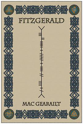 Fitzgerald Written In Ogham Art Print