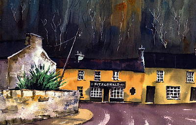 Avoca Painting - Fitzgeralds Pub Avoca  Wicklow by Val Byrne