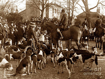 English Fox Hunting Photograph - Fitzwilliam Hunt In 1911 England by The Keasbury-Gordon Photograph Archive