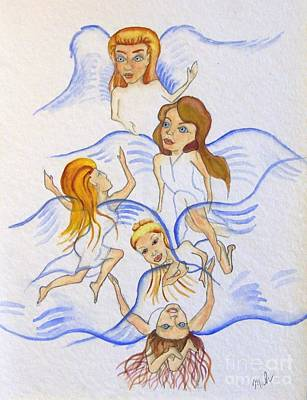 Five Angels Hanging Around  Art Print by Kenneth Michur