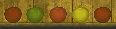Wood Grain Digital Art - Five Apples  by David Dehner