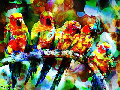 Five Artist Parrots. 2013 80/60 Cm.  Print by Tautvydas Davainis