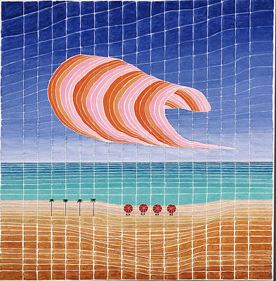 Five Beach Umbrellas Art Print