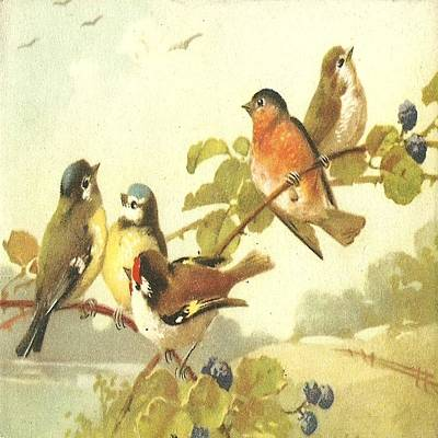 Painting - Five Birds by Florene Welebny