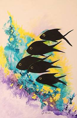 Art Print featuring the painting Five Black Fish by Lyn Olsen