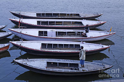 Five Boats On The Ganges Art Print by Robert Preston