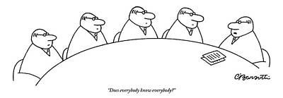 Drawing - Five Businessmen Sit Around A Table At A Meeting by Charles Barsotti