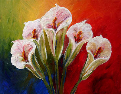 Mj Painting - Five Cala Lillies Print by Mary Jo Zorad