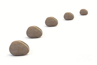Five Calm Pebbles Against White Background Art Print