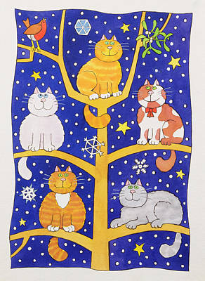Photograph - Five Christmas Cats by Cathy Baxter