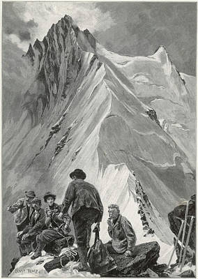 Five Climbers Contemplate The  Daunting Art Print by Mary Evans Picture Library