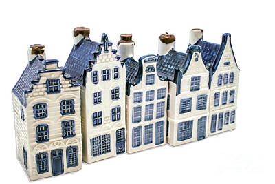 Photograph - Five Delft Blue Houses by Patricia Hofmeester