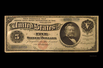 Five Dollar Us Currency Payable With Five Silver Dollars 1886 Art Print by Thomas Woolworth