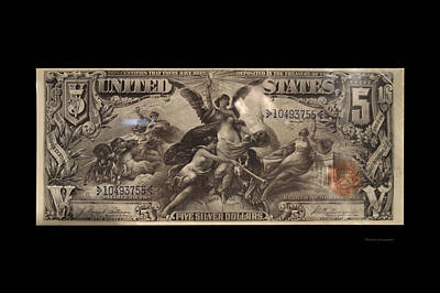 Five Dollar Us Currency Payable With Five Silver Dollars Art Print by Thomas Woolworth