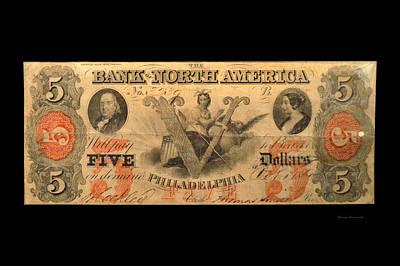 Five Dollar Us Currency Philadelphia 1781 Bill Art Print by Thomas Woolworth