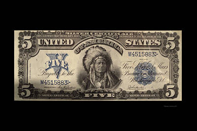 Five Dollar Us Currency Silver Certificate Indian Bill Art Print by Thomas Woolworth