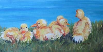 Painting - Five Ducklings by Sharon Sorrels