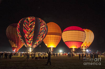 Photograph - Five Glowing Hot Air Balloons by Kirt Tisdale
