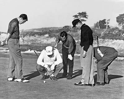 Golf Photograph - Five Golfers Looking At A Ball by Underwood Archives
