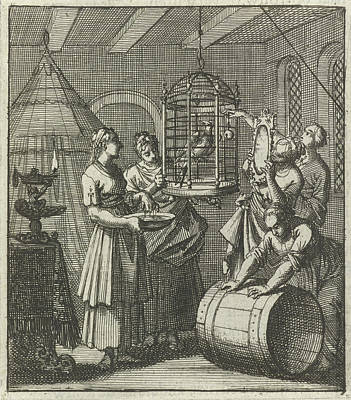 Magpies Drawing - Five Handmaidens See A Magpie In A Cage, Aart Wolsgrein Jan by Aart Wolsgrein And Jan Luyken