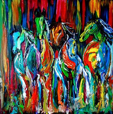 Painting - Five Horses by Maris Sherwood